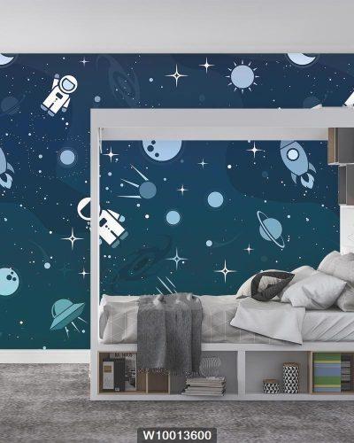 پوستر دیواری اتاق کودک کهکشان و فضا W10013600