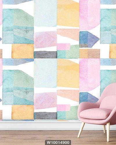 پوستر دیواری آبرنگی اشکال هندسی W10014900 سالن پذیرایی